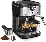 Espresso Machine Cappuccino Coffee Maker with Foaming Milk Frother Wand for Espresso, Latte Machiato, 1.25L Removable Water Tank, Double Temperature Control System, 1350W