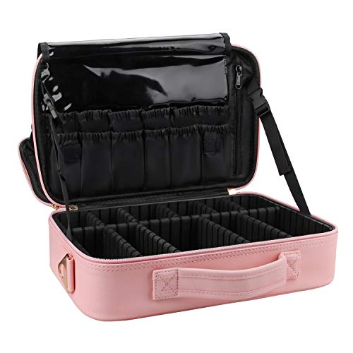 Relavel Makeup Bag Travel Makeup Train Case 13.8 inches Large Cosmetic Case Professional Portable Makeup Brush Holder Organizer and Storage with Adjustable Dividers (Pink)