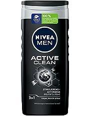 NIVEA MEN Active Clean verzorgende douchegel (250 ml), effectieve douchegel met natuurlijke actieve kool, verfrissende douche voor lichaam, gezicht en haren
