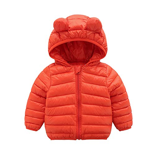CECORC Winter Coats for Little Kids with Hoods (Padded) Light Puffer Jacket for Outdoor Warmth, Travel, Snow Play | Little Girls, Little Boys | Baby, Infants, Toddlers, 3T, Orange