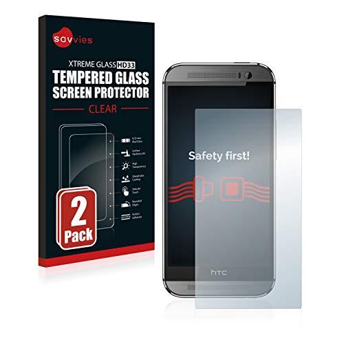 Savvies Panzerglas kompatibel mit HTC One M8 / M8s (2 Stück) - Echt-Glas, 9H Festigkeit, Anti-Fingerprint