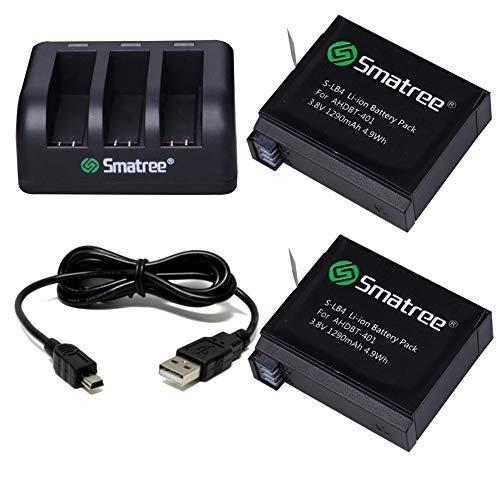 Smatree Batería de Repuesto (Paquete de 2), Cargador de 3 Canales con Cable USB Compatible con videocámara con cámara GoPro Hero 4
