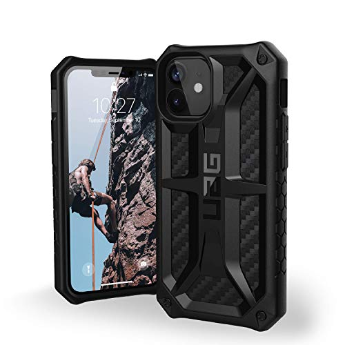 "Urban Armor Gear Monarch Hülle Apple iPhone 12 Mini (5,4\"" Zoll) Schutzhülle (5-Schichten Schutz nach Militärstandard, Wireless Charging kompatibel, Sturzfest, Ultra Slim Bumper) - Carbon"