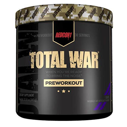 Redcon1 Total War - Pre Workout, 30 Servings, Boost Energy, Increase Endurance and Focus, Beta-Alanine, Caffeine (Grape)