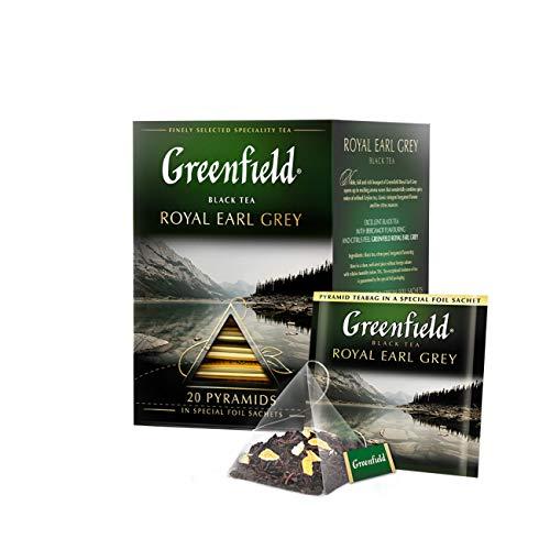 GREENFIELD ROYAL EARL GREY  Schwarztee   Aromatisierter Schwarzer Tee Mit Bergamotte   loser tee in dose   tee im 20 pyramidenbeutel   Flavoured Black Tea (20 x 2g), 40g