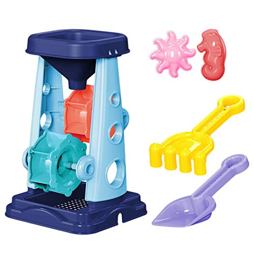 BerryChips Kids' Sand and Water Wheel Tower,Children's Beach Toy Set,Water Wheel with Shovel and Rake Included, Learn About Solids, Liquids, Combination, for Ages 3+