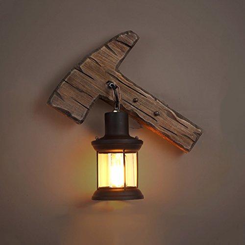 LJZ Estilo rural creativo Hacha Luz de la pared Wall Lamp Lámpara de pared de madera maciza Personalidad de la moda Lámpara de bar Cafetería Iluminación antigua for Home