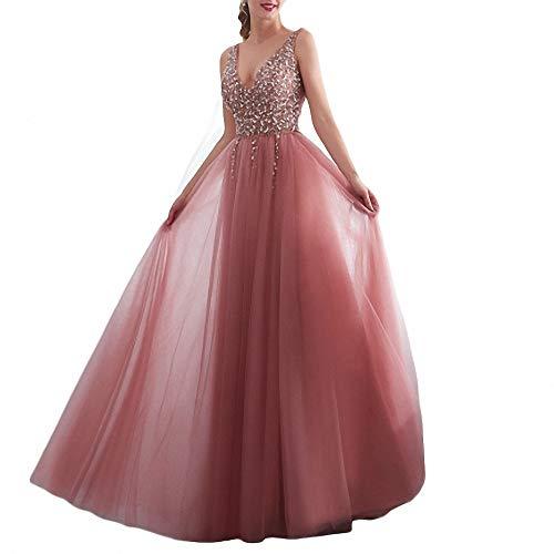 ZLDDE Damen Brautkleider Kleid Sparkly Pailletten Mieder Lange Tüll Partykleid Abendkleid Brautjungfer Abend