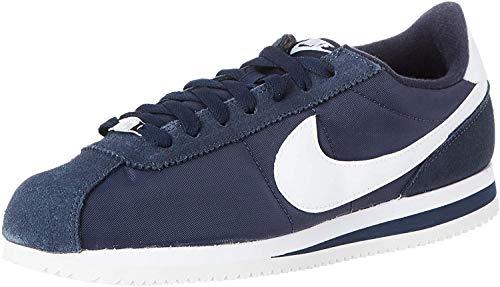 Nike Cortez Basic Nylon, Zapatillas de Deporte para Hombre, Multicolor (Obsidian/White/Metallic Silver 411), 41 EU