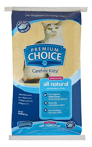 Premium Choice Carefree Kitty Unscented All-Natural Clumping Cat Litter - 50lb Bag