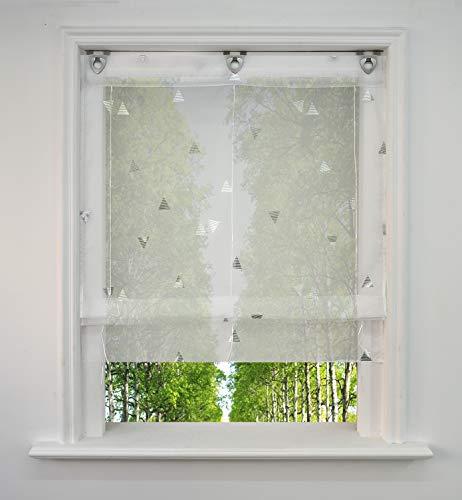 BAILEY JO Voile Raffrollo mit Silber Heißprägen Design Raffgardine Transparent Ösenrollo Fenster Vorhang (BxH 80x130cm, Weiß)