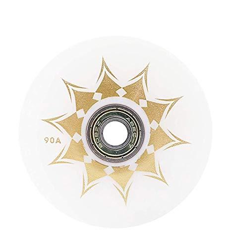 SSCYHT Paquete de 8 Ruedas de patín en línea para Principiantes, Ruedas de Repuesto con rodamientos, 72 mm, 76 mm, 80 mm,Blanco,76MM