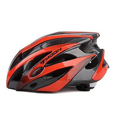 Moon - Casco de Ciclismo para MTB, Color Rojo + Negro, PC + EPS 25