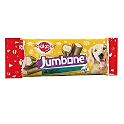 Deliciously satisfying and long-lasting dog chews with a tough and tasty outer and a mouth-watering centre. Low-fat dog treats for guilt free rewards. Pedigree Jumbone dog chews have less than 5% fat / 100g Turkey dog treats with omega 3 to help keep...