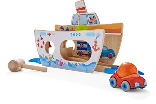 HABA 304816 - Kullerbü – Klopfbank Schiff ahoi, Klopfbank aus Holz, trainiert Farbzuordnung und Reaktionsvermögen, Motorikspielzeug ab 2 Jahren