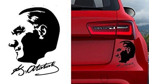 Autoaufkleber Sticker Wandtattoo Wandaufkleber MacBook pro Air Aufkleber Mustafa Kemal Atatürk Kopf mit Unterschrift (ca. 11x10cm, Schwarz)