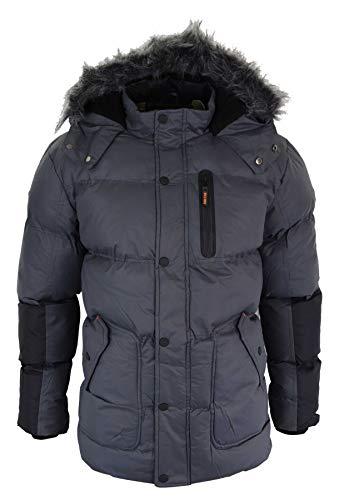 Soulstar Herrenjacke Winter Warm Grau Rot Fellimitat Kapuze Park Design