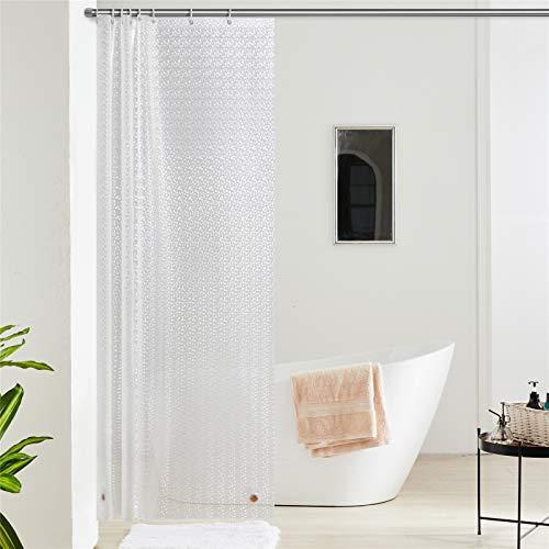 Furlinic Duschvorhang Anti-schimmel Wasserdicht Transparent Badvorhang aus Eva 120x200cm 3D Effekt Funkelnden mit 8 Duschvorhangringen Saum mit Steinen.