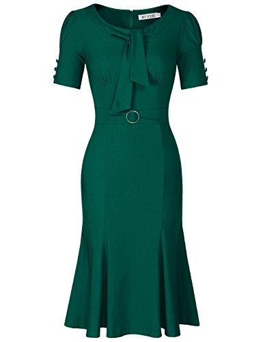 MUXXN Women's Audrey Hepburn 1960s Ruched Sleeve Cocktail Tea Dress (Dark Green S)