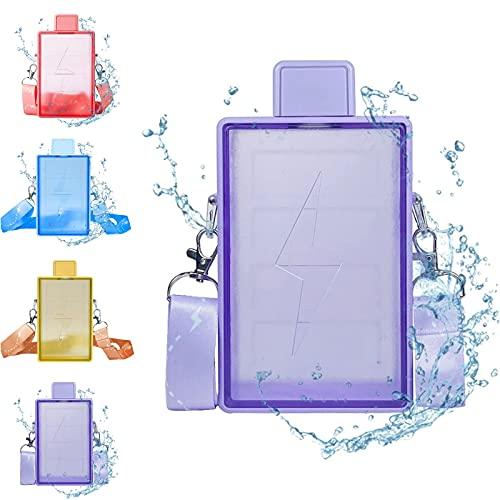 Quzuer Botella con plástico Lightning Creativo, Botellas a Prueba de Fugas con Forma de cámara, Jarra de Agua de plástico con Correa de Hombro Ajustable (A)