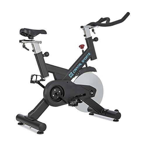 Capital Sports Radical Arc X18 - Indoor bike, Stationary bike, Balanced flywheel with 18 kg, Belt drive, Loadable up to 120 kg, Adjustable, High stability, Weight: about 46 kg, Black