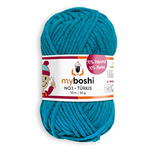 myboshi, No.1 Wolle, 70% Polyacryl, 30% Merinowolle, Türkis, 50g, 55m, 1 Knäuel, Garn zum Häkeln und Stricken, Formstabil, Pflegeleicht