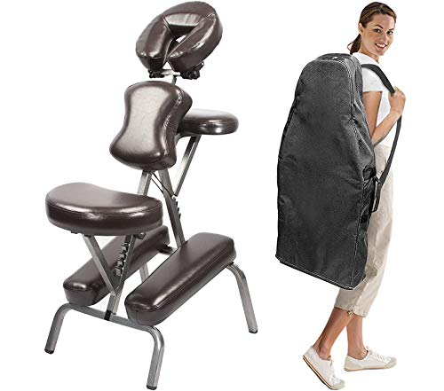 Master Massage Bedford Portable Massage Chair, Professional Light Weight Therapy Folding Massage Chair with PU Leather and Carrying Case
