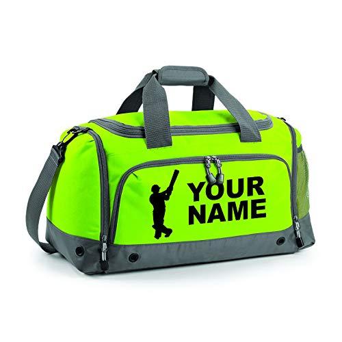 PROSPO Personalisierte Cricket-Reisetasche mit Ihrem Namen oder Club, für Jungen und Herren, lindgrün