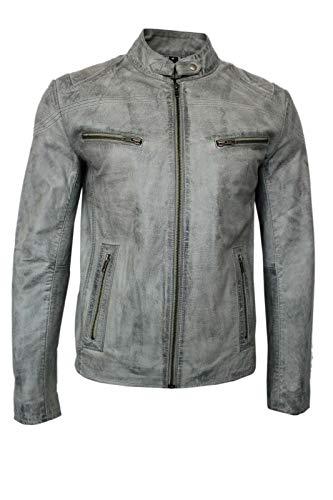 Homme Bleu Clair Biker Style Court Soft & forts Real Vestes en Cuir (UK 3XL / EU 58)