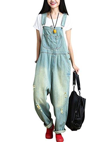 Youlee Damen Sommer Breites Bein Hose Denim Latzhose Overall Hosen Style 8 Light Blue