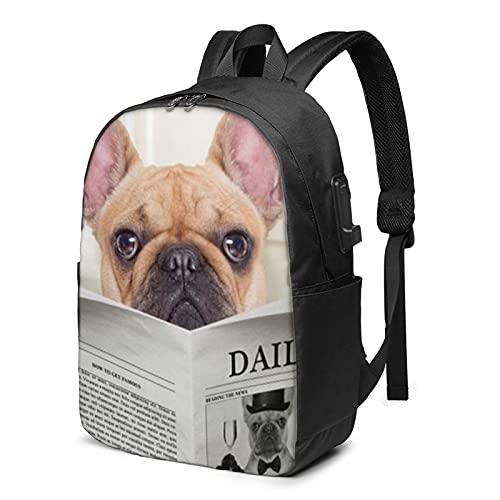 Mochila de periódico para perro bulldog francés con puerto de carga USB para hombres y mujeres de 17 pulgadas - negro - talla única
