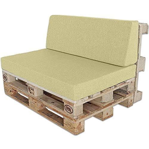 ventadecolchones.com Conjunto para Sofá Palet: Respaldo 120x40 cm + Asiento 120x80 cm desenfundables - Loneta Premium Crudo