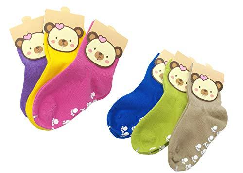 TUKA [6 Pares] Calcetines Antideslizantes Unisex para bebés 1 a 3 años, ABS Calcetines para niños niñas, no-de la resbalón de agarre. Azul Verde Marrón Rosado Amarillo Púrpura TKB7000-6x