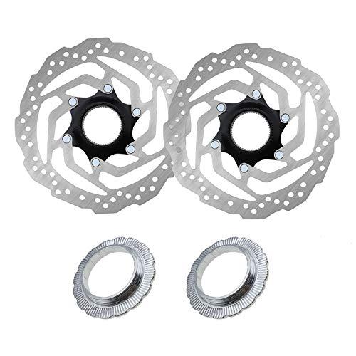 2 rotores de freno de disco Centerlock de 180 mm con pernos de anillo de bloqueo para bicicleta de montaña