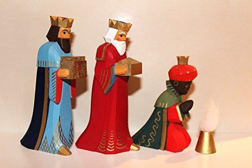 Lotte Sievers-Hahn Krippenfiguren Set 3 Könige mit Caspar grün und Geschenk im Baumwollbeutel