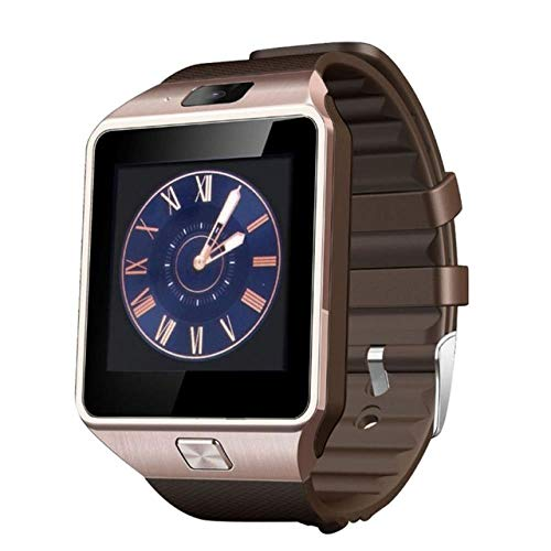 Bluetooth Smart Watch Phone Call 2G GSM SIM TF Card Camera Wrist Watches Suitable for iPhone Samsung HuaWei Xiaomi, Gold