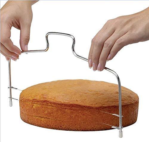 Tagliatorta in doppio filo di acciaio - torte - taglierina - affettatrice - fette - strati orizzontali - farcire - tagliare - manuale -dolci - focacce - utensili - 31 cm - Accessori per casa e cucina