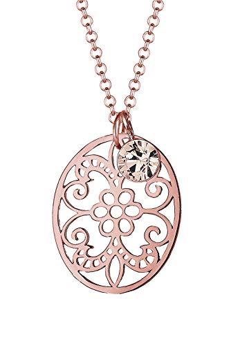Elli Halskette Damen Ornament mit Swarovski® Kristalle in 925 Sterling Silber Rosé vergoldet