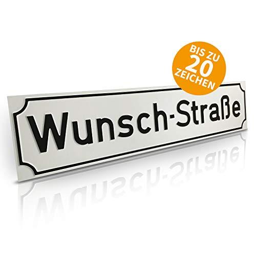 Betriebsausstattung24® Straßenschild Straßen- & Wegschilder | Mit Wunschtext Prägung | Aluminiumschild mit Antiqua-Rand | Größe: (60,0 x 13,0 cm, Weiß mit schwarzer Schrift)