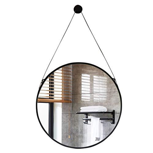 50-80cm Grand Taille, Miroir Mural à Suspendre décoratif avec Crochet/Crochet de Fixation pour Courroie en Fer, Miroir Mural Rond, Noir