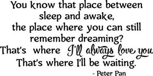 Peter Pan Wall Decal Quotes Walt Disney Lettering Cartoons Quote Print Vinyl Sticker Baby Girl Boy Custom Kids Room Art Bedroom Nursery Poster Decor Mural 255crt