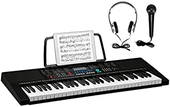 GLARRY 61-Key Portable Electronic Piano Keyboard w/LCD Screen, Microphone, Headphones, 3 Teaching Modes, Built-In Speakers …