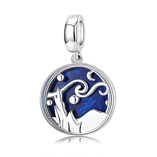 Regalo De Las Mujeres Plata De Ley 925 Cielo Estrellado Noche Azul Esmalte Colgante Abalorios Ajuste Original Pulsera Collar con Cuentas Fabricación De Joyas DIY