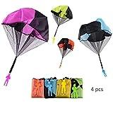 Juguetes Paracaídas Lanzamiento Mano Hombre Conjunto Juguetes Soldados Figuras Paracaidismo Juguetes Niños Al Aire Libre Incluido 4 Paracaídas