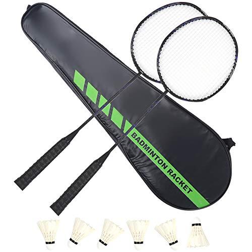 Juego de raquetas de bádminton de aleación de carbono KEENSO, raqueta de bádminton de entrenamiento, diseño interno de articulación en T, con 6 bolas de bádminton y bolsa de bádminton, liviana y durad
