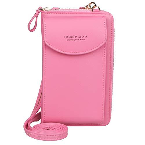 Jangostor kleine Crossbody Tasche Handy - Tasche Brieftasche mit Credit Card Slots für Frauen (Rose)