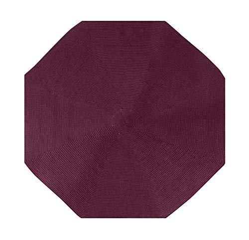 Better Trends County Braid Solid Collection ist langlebig und schmutzabweisend, wendbar, für den Innenbereich, 100 % Polypropylen, in leuchtenden Farben, achteckig, 183 cm, Burgunderrot