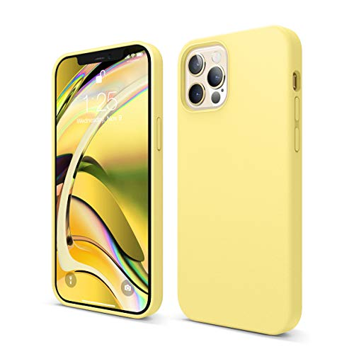elago Compatible with iPhone 12 Case, iPhone 12 Pro Case, Liquid Silicone Case for iPhone 12, Case for iPhone 12 Pro 6.1 Inch [Yellow] - Full Body Protection (Screen & Camera Protection)