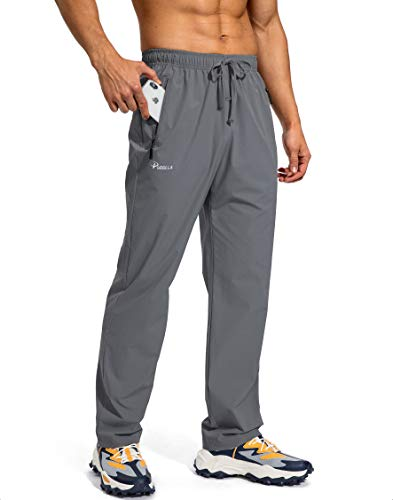 Pudolla Men's Workout Athletic Pants Elastic Waist Jogging Running Pants for Men with Zipper Pockets (Dark Grey Large)