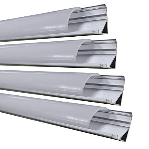 Pack 4x 1m de Perfil Aluminio para Tira LED Aluminio 45 grados. (Forma en V). Cobertura Translucida, Tapones y clips para fijacion incluidos.